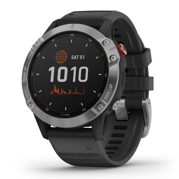 Garmin Fenix 6 Solar, Silver/Black Band  - 1